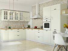 Landhaus Küchenzeile Eckküche LORA L-Form 235x365 cm in weiß, beige oder grau