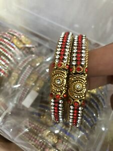 Karaa / Bangles Gold Plated Red White Crystal Stones.Size 2.6 Costume Jewellery
