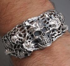 58g HEAVY MULTI SKULL 925 STERLING SOLID SILVER MENS BIKER BRACELET BANGLE CUFF