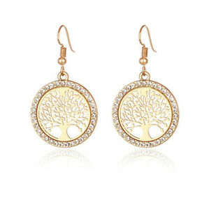 Fashion Gold Filled Round Lucky Tree Long Drop / Dangle Hook Earrings Jewelry