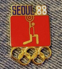 Weightlifting Olympic Pin ~ Pictogram Red ~ 1988 ~ Seoul ~ by HoHo NYC