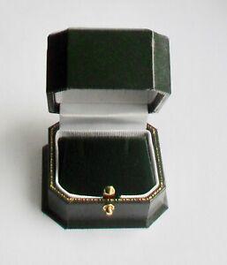 Luxury Antique Style Leatherette Stud / Drop Earring Jewellery Box ~ Green