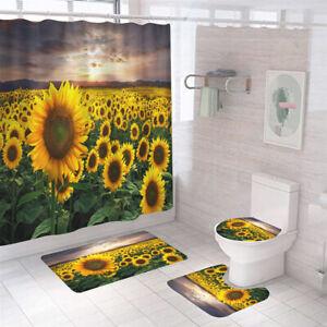 Sunflower Shower Curtain Set Bathroom Rugs Bath Mat Non-Slip Toilet Lid Cover
