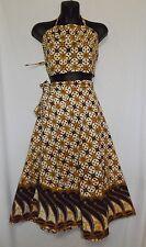 Vintage Danar Hadi BOHO Batik Halter Top, Wrap Skirt and & Scarf Gold/Black/Ecru