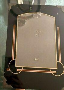 Vintage Art Deco Reverse Painted Table Top Photograph Frame Red, Gilt & Black