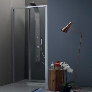Box doccia nicchia porta a soffietto 80xh200 cm vetro temperato 6 mm