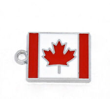 4 Silver Metal Enamel CANADA FLAG CHARMS or Pendants che0175
