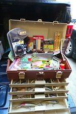 LARGE PLANO FISHING TACKLE BOX FULL OF LURES, NEW LEW'S REEL - TAKE A LOOK