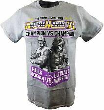 Wrestlemania 6 Hulk Hogan Ultimate Warrior Mens Gray T-shirt