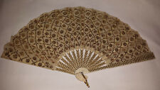 Exquisite Antique Handheld Fan gold sequined double silk leaf C 1900s