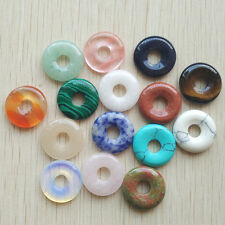natural stone mixed circle donut charms pendants beads 18mm 15pcs/lot Wholesale