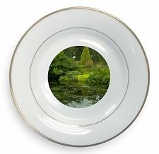 Garden Pond Gold Rim Plate in Gift Box Christmas Present, W-3PL