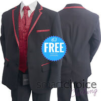 Boys Kids 4 PC Black Burgundy Suit, Pageboy Suit, Wedding Suit Blazer