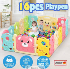 ABST 16-Sided Kids Play Pen Colorful Baby Playpen with Game Panel Run Bear Serie