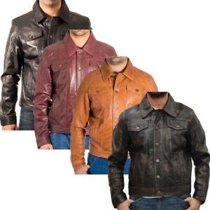 Mens Leather Denim Style Western Trucker Jacket, Black, Tan, Burgundy & Vintage
