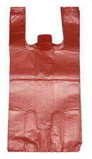 "200 Red Plastic T-shirt Shopping Bags Handles Retail Grocery 11.5""x6""x21"""