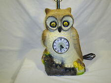 Vintage Owl Table Lamp With Clock Chalkware 1982 Retro Kitchy Boho