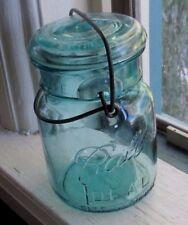 Vintage Ball Ideal Aqua Glass Pint Fruit Jar, Bail & Clear Glass Lid,1933-1960