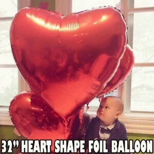 32'' Self Inflating Heart Shape Foil Helium Balloons Wedding RED Party Ballons