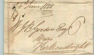 1828 Stampless Letter Dumfries to Kirkcudbright Calligraphy