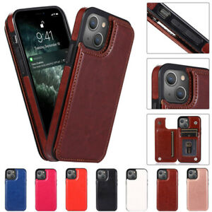 For iPhone 13 12 Pro Max 11 XR XS 8 7 Plus Leather Card Slot Stand Case Cover
