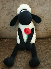 Shaun The Sheep Soft Toy Plush Teddy With Rose Aardman 2012 Valentines Gift 16""