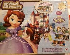 5 Wood Puzzles Disney Sofia The First NEW