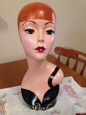 Vintage Flapper Style Mannequin Head Wig Jewelry Display Red Hair Green Eyes NEW
