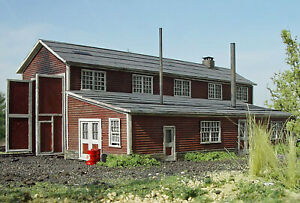 ENGINE HOUSE HO Model Railroad Structure Unpainted Laser-Cut Wood Kit LA683
