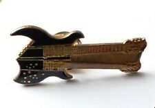 Black Double Neck Guitar Enamel Pin Badge