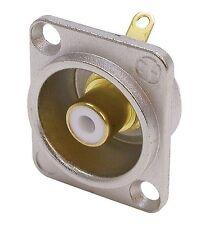 Neutrik NF2D-9 Phono socket in nickel D-shape housing, WHITE solder 1170