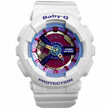 Casio Baby-G Womens Wrist Watch BA112-7A BA-112-7ACR Digi-Analog White Neon New