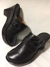 BORN Handcrafted Footwear Womens 8 Black Leather Mules Clogs Heel Slides Shoes