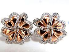 1.40ct 3D Heart Linked Deco Circular Earrings Omega Rose Gold 18KT+