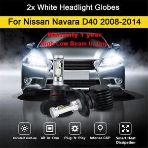 For 2012 2013 Nissan Navara D40 Headlight Globes High Low Beam LED Bulb kit 2x B