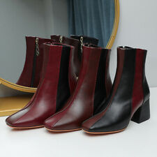 Women's 65mm Mid Heel Square Toe Shoes Zip Faux Leather Ankle Boots US Size 2~14
