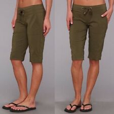 Prana Bliss Long Hiking Shorts Womens Size Large Olive Green Draw String Bermuda