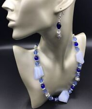 BLUE CHALCEDONY WITH FACETED CRYSTAL NECKLACE SET WITH EARRINGS & TOGGLE CLASP