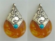 Pair Tibetan Turquoise Sterling Silver Repousse Cap Beeswax Amber Pendants Beads