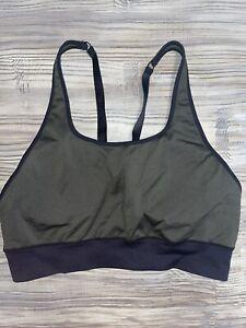 Fabletics Sports Bra Womens Size XL Green & Black Adjustable Straps