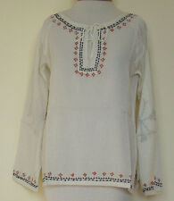 New_Boho Peasant Tunic Shirt_Top_Kurta_Cream_Black&Brown Embroidery_S, M, L, XL