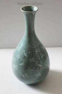 Antique large 12 inch Korean Goryeo ware Caledon vase from prominent estate