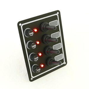 Boat Switch Panel, Toggle Switch and Fuse 4 Gang, 12V By MidMarine
