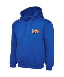 Navy Blue GB UK UNION JACK GREAT BRITAIN Flag Hooded Sweatshirt Hoodie S-XXL