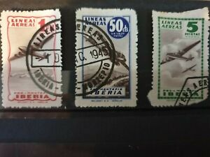 Spain 1945  Iberia Airmail  3 stamp set used