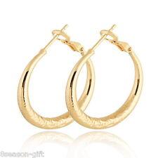 HX 1Pair Fashion Big Hoop Earrings 18K Gold Plated 2014 New 3.1cm x2.9cm