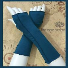 Teal Cotton Fair Trade Dancer's Arm Warmers Soft Stretch Serge Stitch Sleeves