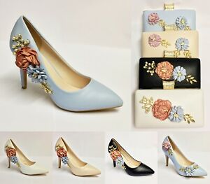Women Ladies Party Evening Flowery pearls Bridal Mid High Heels Court Shoes Size