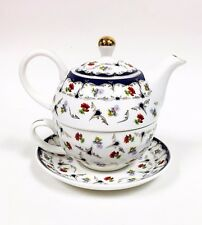 NEW GRACE'S WHITE+MULTI COLOR FLOWER+GOLD TRIM FINE CHINA TEA,COFFEE POT FOR ONE