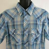 Plainsman Pearl Snap Plaid Shirt XLT Western Rockabilly Rodeo Extra Large Tails